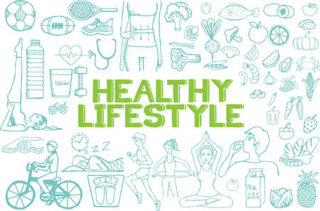 Illustration pour Hand drawn about healthy lifestyle on white background. - image libre de droit