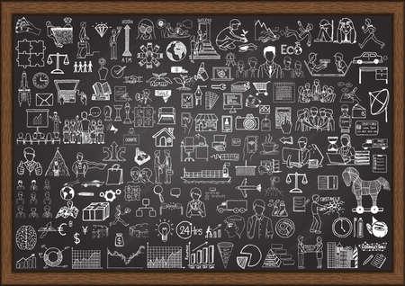 Illustration pour Big set of business situation doodles on chalkboard. - image libre de droit