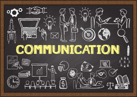 Foto de Business doodles about communication on chalkboard. - Imagen libre de derechos