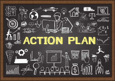 Illustration pour Hand drawn action plan on chalkboard. Business doodles. - image libre de droit