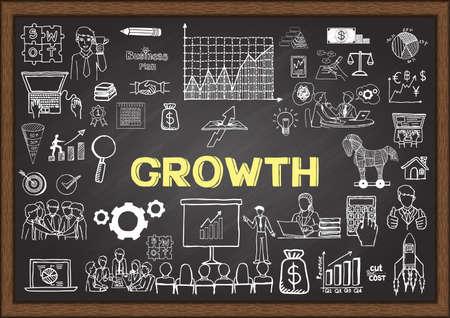 Illustration pour Business doodles about growth on chalkboard. - image libre de droit