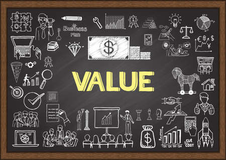 Foto de Doodles about value on chalkboard. - Imagen libre de derechos