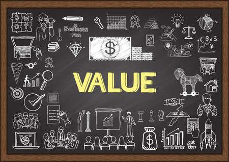 Illustration pour Doodles about value on chalkboard. - image libre de droit