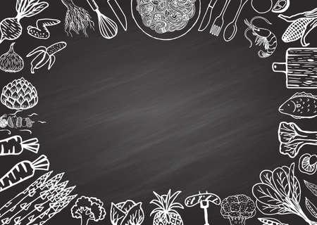 Illustration pour Restaurant menu on chalkboard - image libre de droit