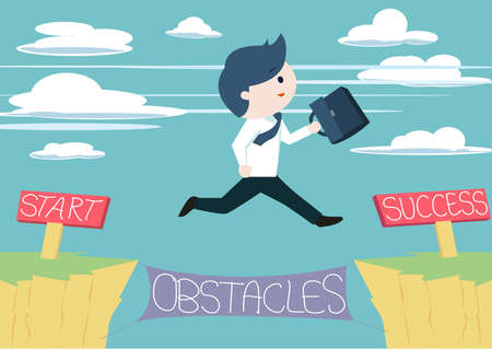 Illustration pour Cute businessman jump across the obstacles from start to success point. Cute business man jump across the cliff without fear of failures. Taking risk in order to success or achieve his goal. - image libre de droit