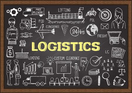 Illustration pour Doodles about logistics on chalkboard. - image libre de droit