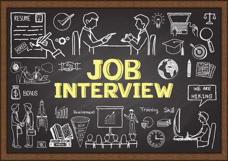 Illustration pour Business doodles on chalkboard with the concept of job interview. - image libre de droit
