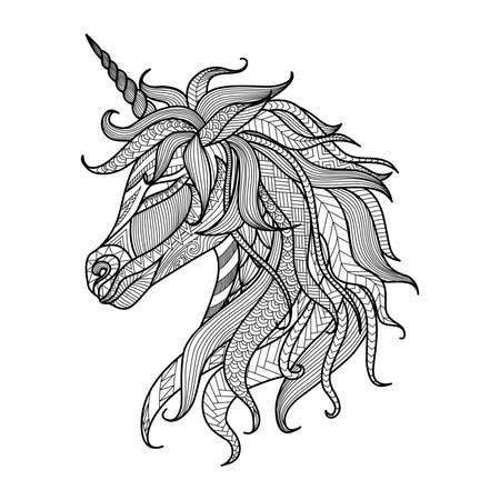 Illustration for Drawing unicorn zentangle style for coloring book, tattoo, shirt design, logo, sign - Royalty Free Image