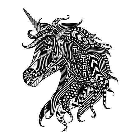 Illustration for Drawing unicorn   style for coloring book, tattoo, shirt design,  sign - Royalty Free Image