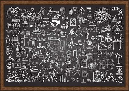 Illustration pour Set of business situation doodles on chalkboard. - image libre de droit