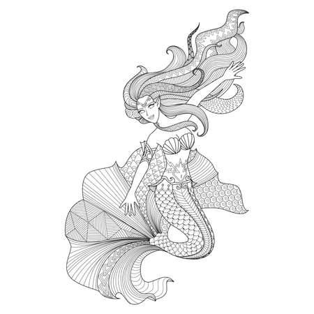 Illustration for Detailed zentangle mermaid for coloring page - Royalty Free Image