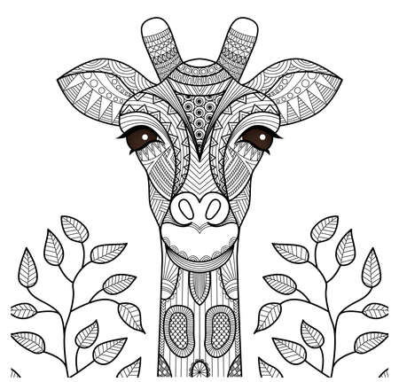 Illustration for Zentangle giraffe head for coloring page, shirt design and so on. - Royalty Free Image