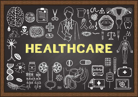 Illustration pour Doodles about healthcare on chalkboard. - image libre de droit