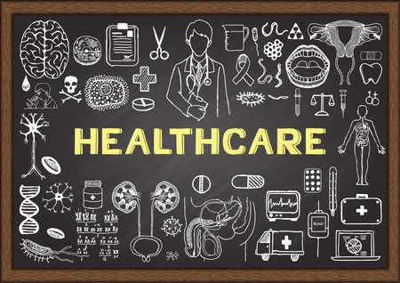 Photo pour Doodles about healthcare on chalkboard. - image libre de droit