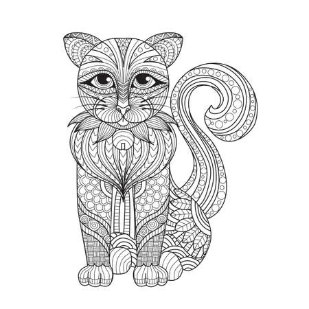 Illustration for Drawing   cat for coloring page, shirt design effect,  , tattoo and decoration. - Royalty Free Image