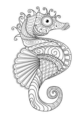 Illustration for Hand drawn sea horse   style for coloring page,t shirt design effect  tattoo and so on. - Royalty Free Image