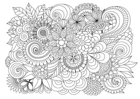 Illustration for Hand drawn   floral background for coloring page - Royalty Free Image