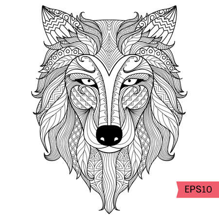 Illustration for Detail zentangle wolf for coloring page,tattoo, t shirt design effect and logo - Royalty Free Image