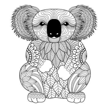 Illustration for Drawing zentangle Koala for coloring page, shirt design effect, logo, tattoo and decoration. - Royalty Free Image