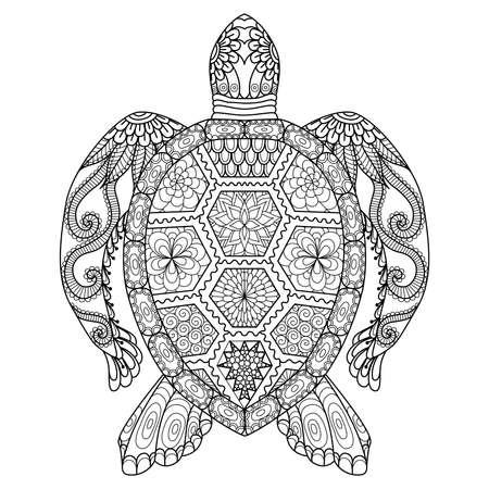 Photo pour Drawing zentangle turtle for coloring page, shirt design effect, logo, tattoo and decoration. - image libre de droit