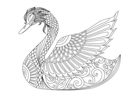 Illustration for Drawing  swan for coloring page, shirt design effect, logo, tattoo and decoration. - Royalty Free Image