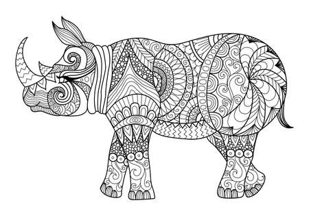 Photo for Drawing zentangle rhino for coloring page, shirt design effect, logo, tattoo and decoration. - Royalty Free Image