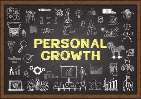 Illustration pour Hand drawn about personal growth on chalkboard - image libre de droit