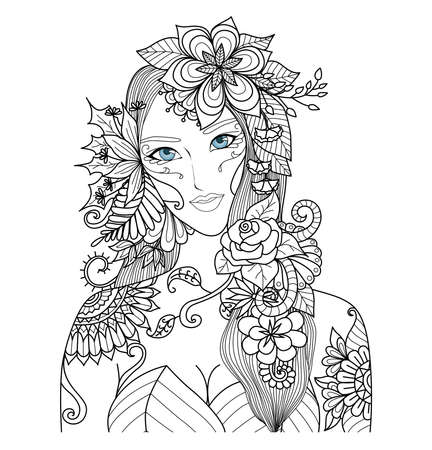 Illustration for Beautiful forest fairy for coloring book for adult - Royalty Free Image