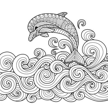 Foto de Hand drawn zentangle dolphin with scrolling sea wave for coloring book for adult - Imagen libre de derechos