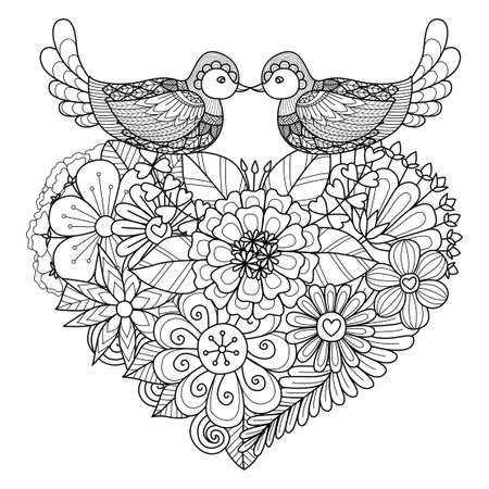 Illustration for Two birds kissing above floral heart shape nest for coloring page and other decorations - Royalty Free Image