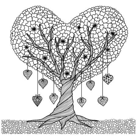Illustration for Hand drawn heart shape tree for coloring book for adult - Royalty Free Image