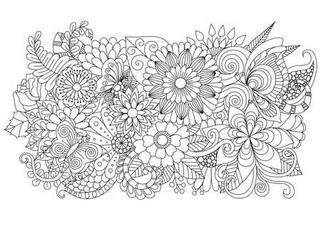 Illustration for Hand drawn zentangle floral background for coloring page and other decorations - Royalty Free Image