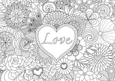 Illustration for Heart on floral background for coloring book for adult - Royalty Free Image