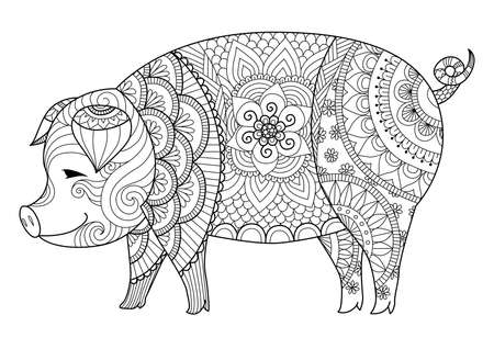 Illustration pour Drawing pig for coloring book for adult or other decorations - image libre de droit