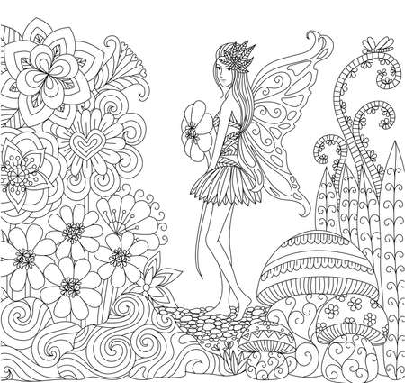 Illustration for Hand drawn fairy walking in flower land for coloring book for adult - Royalty Free Image