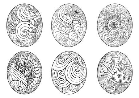 Illustration for easter eggs for coloring book for adult - Royalty Free Image
