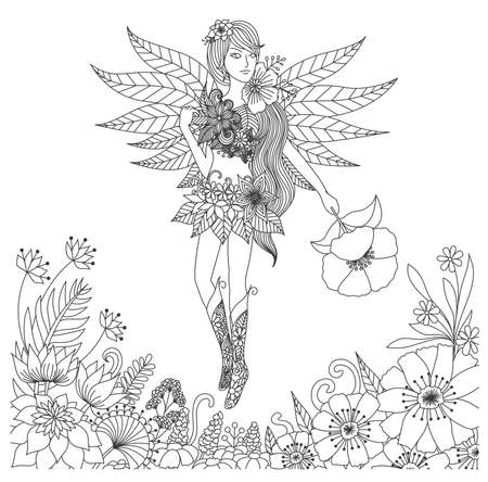Illustration for Hand drawn fairy flying in flower land for coloring book for adult - Royalty Free Image