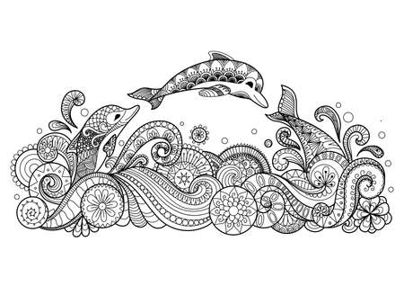 Illustration pour Zentangle stylized of three dolphins swiming happily for coloring book, T- Shirt design and other decorations - image libre de droit