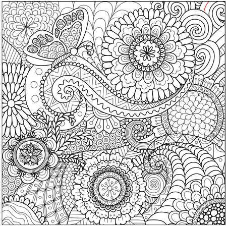Illustration for flowers and mandalas for coloring book for adult - Royalty Free Image