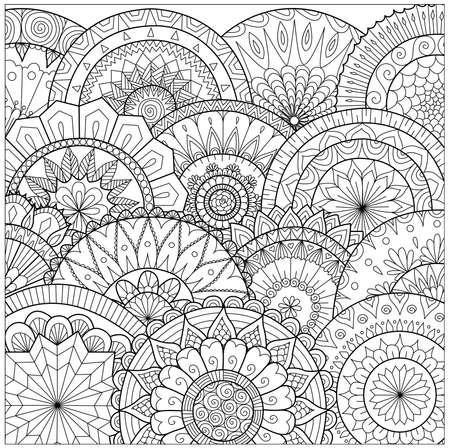 Illustration pour Flowers and mandalas line art for coloring book for adult, cards, and other decorations - image libre de droit