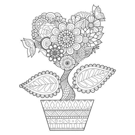 Illustration for Flowers in heart shape on a pot , for coloring book for adult, cards, tattoo, T- Shirt graphics and so on - Royalty Free Image