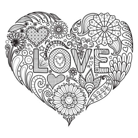Illustration pour Flowers and texts LOVE in heart shape design for coloring book for adult, cards and so on - image libre de droit