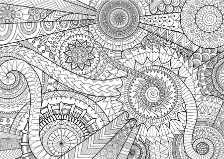 Illustration for Complex mandala movement design for adult coloring book and background - Royalty Free Image