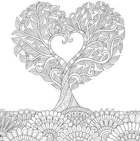Illustration for Zendoodle design of love treefor illustration and adult coloring for anti stress - Stock Vector - Royalty Free Image