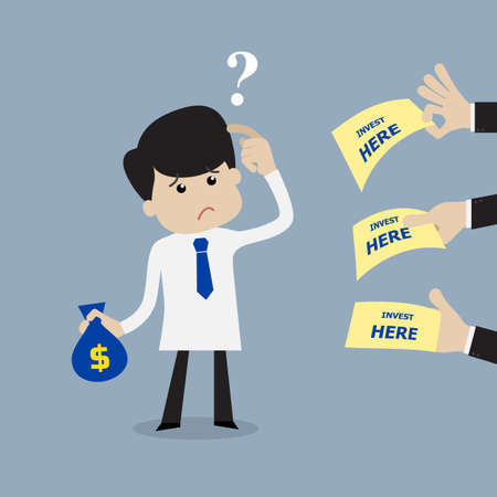 Illustration pour Businessman confused and not sure how to choose where to invest - image libre de droit