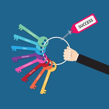 Illustration pour Hand holding bunch of keys for success, vector for  success in business concept, key to success,  key success factors, - image libre de droit