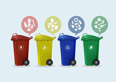 Ilustración de Different Colored wheelie bins set with waste icon, illustration of waste management concept - Imagen libre de derechos