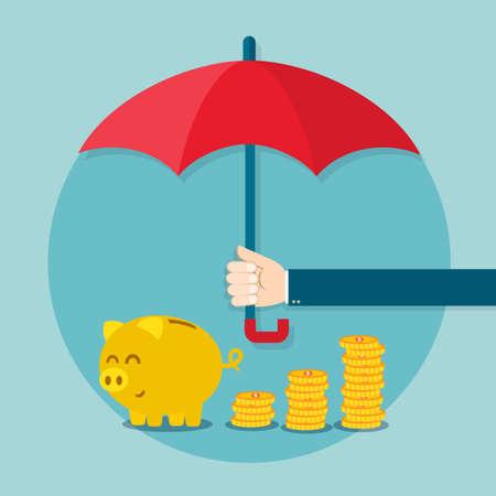Illustration pour Hand holding umbrella to protect money. Vector illustration for financial savings concept. - image libre de droit