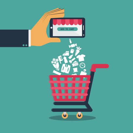 Ilustración de Flat design  vector for shopping on mobile or shopping online via application on smartphone - Imagen libre de derechos