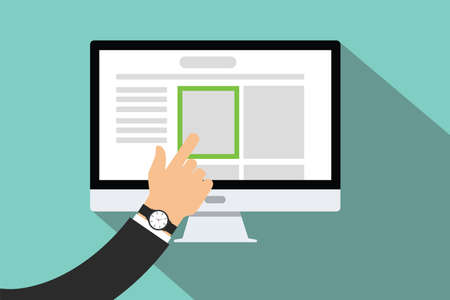 Illustration pour online choose right products hand pick pc computer choosen - image libre de droit